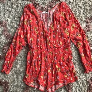 Bright flower romper!